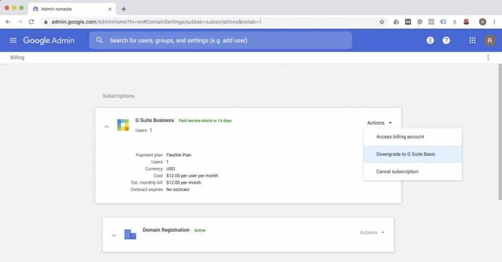 G Suite Downgrade